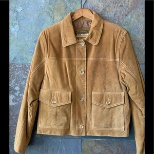 Suede quilted golden tan jacket, L, EUC